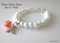 Childrens personalized bracelet, flower girl bracelet, flower girl gift, kids pearl bracelet, wedding jewelry on Etsy, $10.54