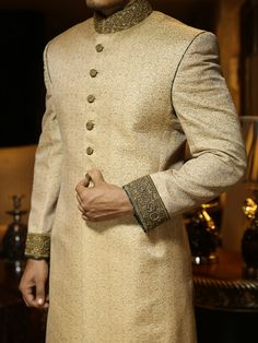 Groom dress for wedding Normally, it's believed ladies are more conscious, worried and careful about their big day dress choices. Sherwani For Men Wedding, Wedding Dresses Men Indian, Wedding Outfits For Groom, Groom Wedding Dress, Sherwani Groom, Mens Sherwani, Groom Dress, Wedding Men, Wedding Suits
