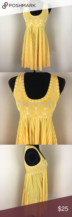 """BECCA BY BECCA VIRTUE yellow diamond dress Sz Sm Sizing tag missing but it is a small. Laying flat, 13"""" across the bustline. It is a very cheerful summer dress and appears unworn. BECCA Dresses"""