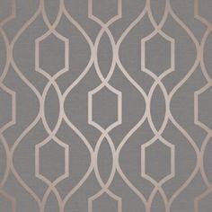 Fine Decor Apex Trellis Metallic Wallpaper Rose Gold & Grey for sale online