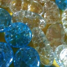 These are flat sided marbles. I just put them on a pie plate in a oven at 500 degrees for about 20 minutes. Then threw them in a bowl of ice water. They will crack. I repeated this a few times to make them crack more. They will make pretty jewelry or maybe a sun catcher.