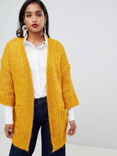 Y.A.S Chunky Rib Knitted Cardigan White Cardigan Outfit c3b6069f8
