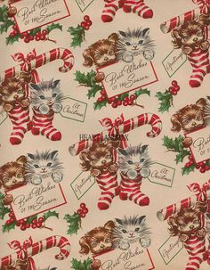Vintage Christmas Paper Wallpaper Digital by VintageDigitalShop2