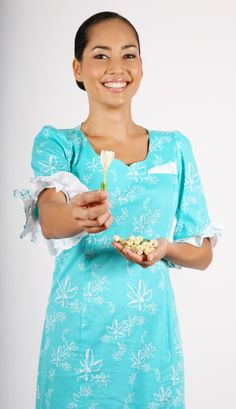 Welcome aboard Air Tahiti Nui. You are presented with a fresh Tiare flower bud