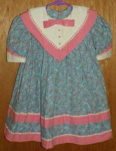 ea407887 VTG Girls Blue Pink Floral Dress Big Collar Lace Trim Short Sleeve Size 4  or 5