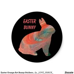 Shop Easter Orange Art Bunny Stickers by Janz created by _LOVE_SHACK_. Easter Stickers, Round Stickers, Happy Easter, Easter Bunny, Orange Art, Presents For Kids, Different Shapes, Custom Stickers, Activities For Kids