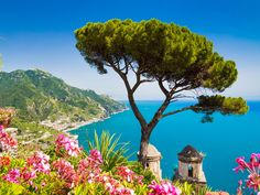 Picture of Scenic picture-postcard view of famous Amalfi Coast with Gulf of Salerno from Villa Rufolo gardens in Ravello, Campania, Italy stock photo, images and stock photography. Weekend France, Amalfi Coast Italy, Ravello Italy, Capri Italy, Villa, Places In Italy, Picture Postcards, Visit Italy, Italy Travel