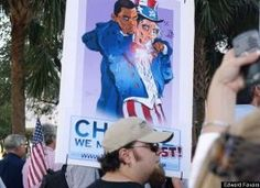 Edward Favara sent in this photo from Tampa, FL. A black figure that resembles President Obama is portrayed slitting the throat of Uncle Sam.