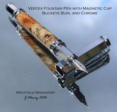 Vertex Chrome Fountain Pen with Magnetic Cap in Premium Buckeye Burl by WestfieldWoodshop on Etsy