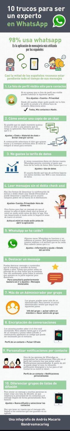 Aprende cómo ser experto en WhatsApp gracias a los diez sencillos trucos que nos desvela la interesante infografía que compartimos hoy.