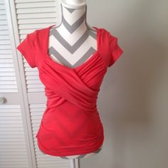Charlotte Russe Top! Coral Top with Overlapping Front and Open Back! Charlotte Russe Tops Tees - Short Sleeve