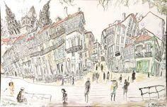 Porta Faxeira, Santiago de Compostela, The Way Spain 2013 Carlos Pardo. Watercolor, pastel, charcoal & Ink on paper 19.6 x 13.7 inches 50x35 cms www.ArtCarlosPardo.com