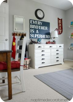 Harry's room, grey walls (polished pebble or chic shadow), beige carpet, blue/red accents