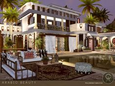 The Sims Resource: Arabic Beauty house by Praline Sims Sims 4 Loft, Sims 3, Sims 4 Restaurant, Sims 4 Modern House, The Sims 4 Lots, Upscale Restaurants, Sims Building, Palace Of Versailles, House Of Beauty