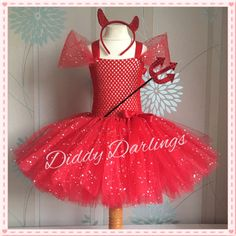 Sparkly Red Devil Tutu Dress. Inspired Handmade All Sizes Fully Customised Halloween, Christmas, Party, Fancy Dress, Halloween Costume by DiddyDarlings on Etsy