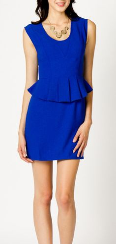 Royal blue peplum dress ready to impress! Add a splash of blue into your life at MYXFusions.com!