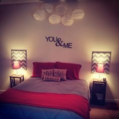 Master bedroom. #diy #youandme #mrandmrs Mirror in the middle, two calendar pics above bedside table