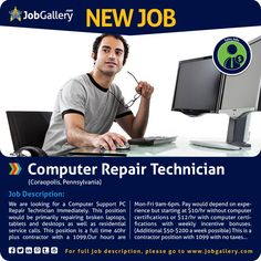 SEEKING A COMPUTER REPAIR TECHNICIAN - CORAOPOLIS, PA  #jobs #jobopening #computerrepair #caraopolis #pennsylvania #pennsylvaniajobs #job #gallery #jobgallery