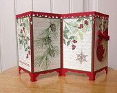 Stampin Up handmade Christmas card - screen divider - Christmas holly & ornament