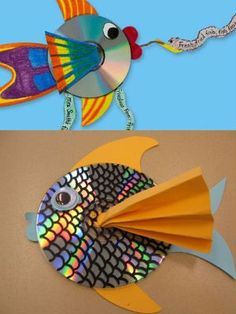 13 kid-friendly crafts using recyclables Rainbow fish craft? with recycled cd's! Would do this double-sided and hang them from the ceiling to catch the sunlight. The post 13 kid-friendly crafts using recyclables appeared first on Knutselen ideeën. Kids Crafts, Summer Crafts, Projects For Kids, Craft Projects, Arts And Crafts, Craft Ideas, Old Cd Crafts, Recycled Crafts For Kids, Crafts For Children