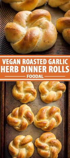 Vegan roasted garlic and herb dinner rolls are a bread-lover's dream, made from scratch and enjoyed hot and fresh from the oven. Fill the bread basket at your next holiday meal with a batch of these and they're sure to disappear in a flash. Get the recipe now on Foodal. #veganbaking #dinnerrolls #foodal Healthy Bread Recipes, Best Bread Recipe, Vegan Recipes, Vegan Desserts, Dessert Recipes, Dishes Recipes, Vegan Roast, Roasted Garlic, Dinner Rolls