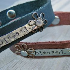 Personalized Leather Cuff Bracelets – Choose from 2 Colors and 3 Metals at VeryJane.com