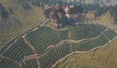 Rich Medieval Vineyard – Minecraft Building Inc Villa Minecraft, Chalet Minecraft, Château Minecraft, Minecraft Medieval Buildings, Construction Minecraft, Minecraft Welten, Minecraft Statues, Capas Minecraft, Minecraft Cottage