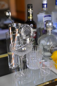 """tips for building a fully stocked """"home bar"""" for parties / entertaining guests Game Room Bar, Craft Shed, Bar Cart Decor, Built In Bar, Diy Bar, Bar Tools, Party Entertainment, Cool Bars, Bars For Home"""