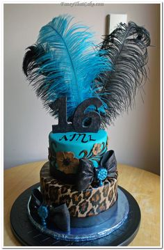 Blue, Black, Brown and Cheetah Sweet 16 Birthday Cake