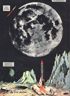 Moon Rocket launch vintage illustration space print space ship outer space decor 50 years old