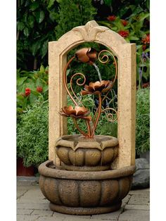 Classical Outdoor/Indoor Water Fountain With Metal Flower