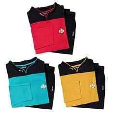 ★★★★★ Star Trek TNG Pajama Set http://www.thinkgeek.com/product/16bf/ - $39.99 XL in gold.