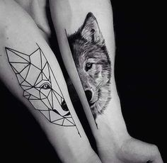 Image result for tatouage homme loup geometrique