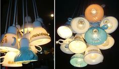 """Candelabra"" made from tea cups... a new way to see ""tea lights""...."
