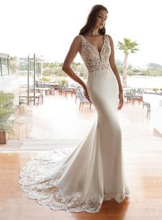 cosmobella 2020 bridal sleeveless beaded thick straps embellished bodice sheath wedding dress elegant glamorous low back chapel train mv -- Cosmobella 2020 Wedding Dresses Classic Wedding Dress, Perfect Wedding Dress, Wedding Dress Styles, Dream Wedding Dresses, Wedding Attire, Lace Wedding Dress, Bridal Dresses, Wedding Gowns, Elopement Wedding