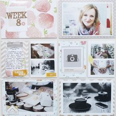 Project Life Dear Lizzy Layout Inspiration.  Floral patterns + Pink and Grey= Perfection  #projectlife #layout #dearlizzy #inspiration #floral #pink #grey