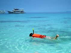 Snorkelling in the crystal-clear waters of Costa Teguise in Lanzarote.