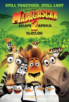 Madagascar:Escape 2 Africa (Madagascar Ben Stiller, Chris Rock, David Schwimmer, Jada Pinkett Smith. Directed by Eric Darnell, Tom McGrath. Madagascar 2, Madagascar Escape 2 Africa, Jada Pinkett Smith, Cartoon Movies, Disney Movies, Jose Garcia, Animated Movie Posters, Ben Stiller, Film D'animation