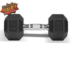 Dumbbell Coated Rubber Hex Cast Iron Chrome Hand Weight 25 lbs - BAADH6
