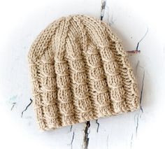 Hand Knit Baby Beanie Hat in Beige - 0-3 MONTHS Ready to Ship, UK Seller