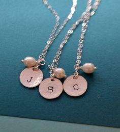 Bridesmaids Sterling Silver Initial Charm Necklace  by SeaSaltShop, $52.00