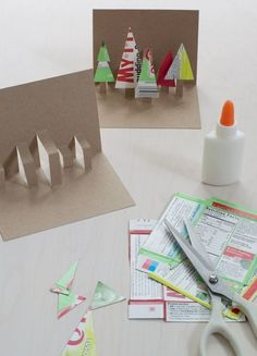 Easy Holiday Pop-Up Cards Made From Recycled Packaging — super make it Recycled Christmas tree pop-up card how-to Pop Up Christmas Cards, Christmas Card Crafts, Printable Christmas Cards, Christmas Pops, Pop Up Cards, Kids Christmas, Simple Christmas, Christmas Ornaments, Recycled Christmas Tree