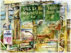 Reduced New York  Bronx  Yankee Stadium  Glicee Print by dfrdesign, $27.00