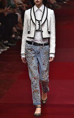 Light-Washed Embellished Boyfriend Jeans by Dolce & Gabbana