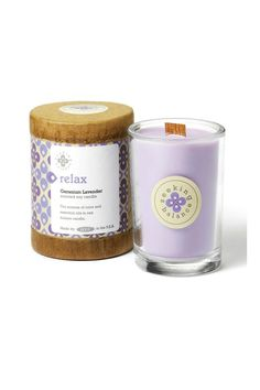 Pure essential oils of lavender and the geranium bud combine with the tranquil color of lavender to provide an atmosphere of comfort, calm and relaxation.Essential oil-based fragrances, All-natural soy wax blend, Colored with all-natural vegetable-based dyes, Sustainable wooden wick for a comforting crackle, Jar candles burn up to 65 hours, Earth-friendly packaging printed with soy inks.    Measures 6.5 oz.   Relax Candle  by ROOT . Home & Gifts - Home Decor - Candles & Scents Tennessee