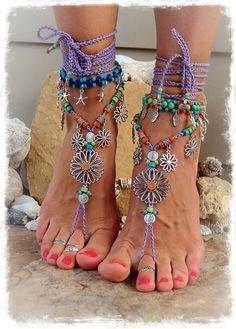 SUNFLOWER Barefoot Sandals Hippie FESTIVAL sandal Flower Power Toe Thongs Wrap LAVENDER Statement foot wear crochet foot jewelry GPyoga