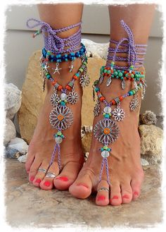 SUNFLOWER Barefoot Sandals Hippie FESTIVAL sandal Flower Power Toe Thongs Wrap LAVENDER Statement foot wear crochet foot jewelry GPyoga