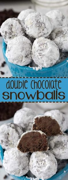 Easy Holiday Cookies, Holiday Cookie Recipes, Cookies For Kids, Chocolate Snowball Cookies Recipe, Chocolate Snowballs, Snowballs Recipe, Chocolate Christmas Cookies, Chocolate Deserts, Double Chocolate Cookies
