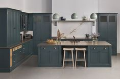 Introducing Arbor, our new and exclusive kitchen range. Painted in Farrow & Ball 'Inchyra Blue' with walnut internal detailing. Introducing Arbor, our new and exclusive kitchen range. Painted in Farrow & Ball 'Inchyra Blue' with walnut internal detailing. Blue Kitchen Island, Dark Grey Kitchen, Blue Kitchen Cabinets, Teal Kitchen, Kitchen Units, Kitchen Paint, Open Plan Kitchen, Kitchen Colors, Kitchen Decor