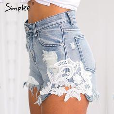 Ripped Pocket Women Shorts Summer Casual Denim Shorts Vintage Shorts Denim Shorts For Women Denim And Lace, Lace Denim Shorts, Jeans Denim, Ripped Denim, Jean Shorts, Ripped Shorts, Floral Denim, Jeans Leggings, Blue Denim